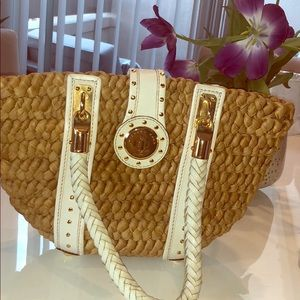 Michael Kors Woven Raffia Tote with Gold Detail